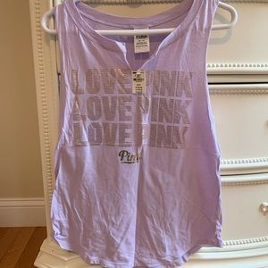 "VS pink ""love pink"" purple tank top"